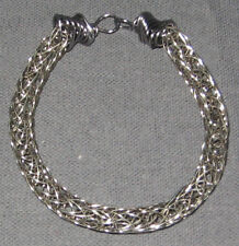 "Knit Bracelet 8"" Chain Wire #178 Artisan Handmade by me Marie Titanium Viking"