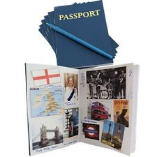 (25) Pk. All Blank Inside Passports For Students to Stamp For Fun (24) Pgs.