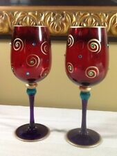 Pier One ART GLASS GOBLETS  Crystal Gold Swirls  RUBY RED & PURPLE 9""
