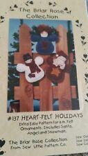 Craft Pattern Heart Felt Holidays 6 In. Felt Ornament Santa Angle Snowman