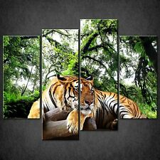 TIGER FOREST GREEN SPLIT CANVAS WALL ART PICTURES PRINTS LARGER SIZES AVAILABLE