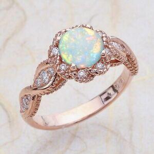 Fashion Women Wedding Rose Gold  Ring Jewelry White Opal Rings Gift Size 7