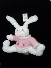Friendzies Stuffed Plush Bunny Rabbit White Pink Sweater Curly Fur New Nwt Beans