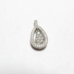 LOVE Estate 14K White Gold 42 Round Brilliant Cut Diamond Heart Pendant 0.75 Cts