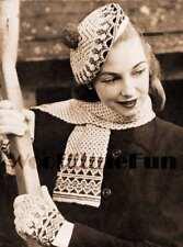 Vintage Knitting Pattern Ladys/Girls Fair Isle Beret, Gloves & Matching Scarf.
