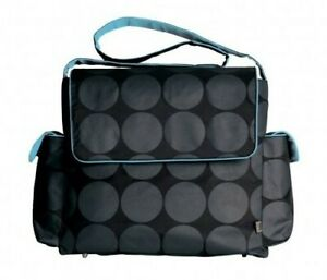 NEW OiOi Messenger Diaper Bag - Charcoal Grey Dot with Turquoise Lining