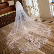 3.5M Wedding Veils Cathedral Length Comb 2 Tiers Cover Face Bride Accessories