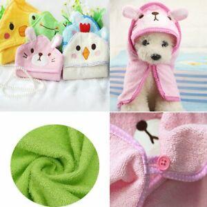 Cartoon Animal Hooded Pajamas Dog Bathrobe Cat Shower Blankets Pet Bath Towel