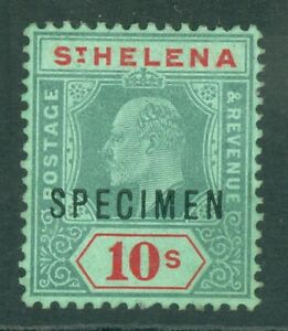SG 70 St Helena 10/- green & red, overprinted specimen. Fine mounted mint