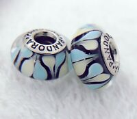 2 PANDORA Silver S925 ALE Murano Charm Light Pink Blue Water Drops Beads #361