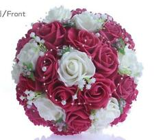 Handmade Wedding Bridal Bouquet Artificial Roses Flower W/Pearls Lace Decor Rosy