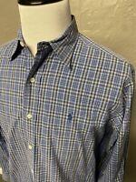 Polo Ralph Lauren Plaid Lowell Sport 100% Cotton Shirt. Men's Medium Long Sleeve