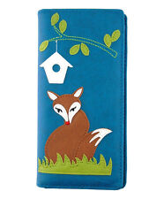 New LAVISHY Checkbook Wallet RED FOX BIRDHOUSE Vegan Faux Leather BLUE Grass
