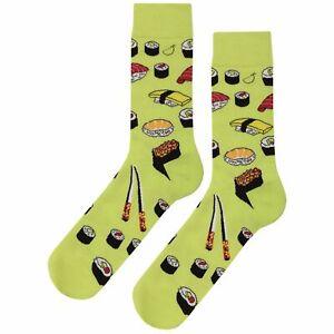 NWT Sushi Crazy Dress Socks Novelty Men 8-12 Yellow Fun Sockfly