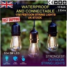 11M/20M S14 2W LED Bulb Kits Black Festoon String Lights Backyard Party Lighting