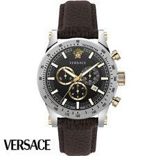 Versace VEV800119 Sporty Chronograph schwarz silber braun Leder Herren Uhr NEU
