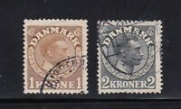 Denmark stamps #132 & 133, used, 1913 - 1920
