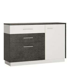 1 Door 2 Drawer 1 Compartment Sideboard in Slate Grey and Alpine White