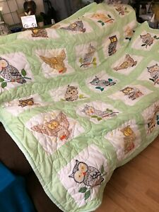 Handmade  owl  green quilt 85 x 90  hand stitched pre-owned king size