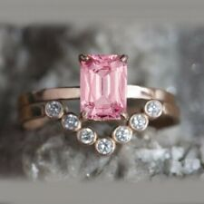 1.07 Ct Emerald Cut Pink Sapphire Engagement Bridal Ring Set 14k Rose Gold Gp
