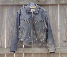 Banana Republic Vintage A-2 Flight Bomber Distressed Brown Leather Jacket 38