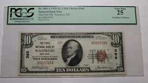 $10 1929 Waterloo New York NY National Currency Bank Note Bill Ch #368 VF25 PCGS