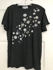 "NWOT Wildfox ""Falling Snowflakes"" ❄️ Tee Shirt Dirty Black Hologram Iridescent"