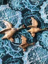 Set of Three Vintage Original Chalk ware Flying Ducks Plaques Mallards c.1950s