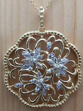 1.3ctw GENUINE AQUAMARINE STONE & DIAMOND FLOWER PENDANT NECKLACE NEW