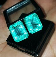 Loose Gemstone 8 to 10 cts 2 Natural Emerald Certified Pair Best Offer