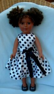 """Madame Alexander AA ethnic 18"""" Maya doll redressed in spotty dress & black shoes"""