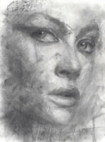 ELISABETH Female Portrait Study Original Chalk Charcoal Drawing ABSTRACT REALISM