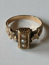 Antique Victorian 14K Gold Black Enamel Seed Pearl Ring Size 6 1/2