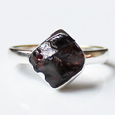 100% 925 Solid Sterling Silver Dark Red Garnet Rough Stone Ring - Size 8