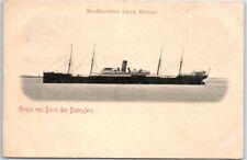 """1900s Norddeutscher Lloyd Steamship Postcard """"Gruss von Bord des Dampers"""" Unused"""