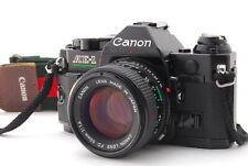 EXC/ CANON AE-1 PROGRAM Black + New FD 50mm f/1.4 SLR film camera from Japan
