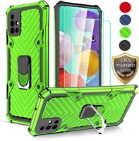 For Samsung Galaxy A51 5G A71 Case Shockproof Hybrid Rubber Cover+Tempered Glass