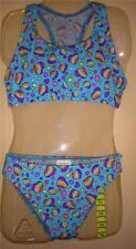 Girls Speedo Swimsuit 2 Pc Sz 14 Blue with Purple Hearts NWT Racer Back