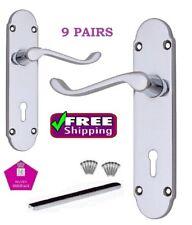 9 Sets Chrome Epsom DOOR HANDLES Internal Door LOCK Handles D18