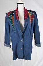 City Girl Sport Vintage Denim Jean Crush Velvet Collar Glitter studs lapel 12 (R
