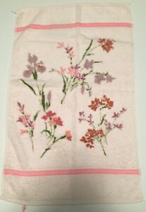 Vintage St Mary's Pink Floral Flowers Hand Towel