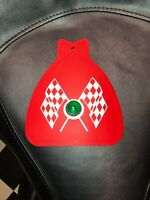 RED BICYCLE MUD FLAP CHECKERED FLAGS FITS SCHWINN WITH GREEN JEWEL CRUISER BIKES