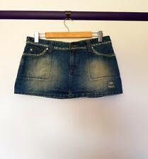 Rusty womens size S blue denim push pin button chain rock grunge mini skirt