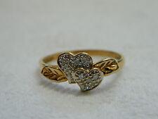 9ct Yellow Gold Diamond Set Double Heart Leaf Ring sz R