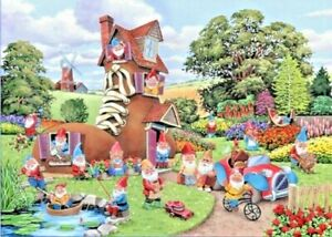 House of Puzzles HOP Gnome and Away Big 500 XL Piece Jigsaw Puzzle New Sealed