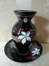 F G Ilmenau Thüringer Porzellan-Vase + Schale-Teller schwarz