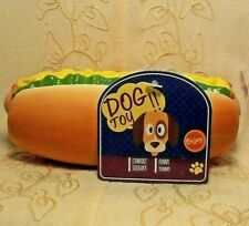 """Vibrant Life HOT DOG Wiener Sandwich Exercise Play Fetch Chew Squeaky Dog Toy 6"""""""