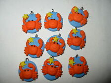 """48 Cutie Crab Fimo Clay Charms 3/4"""" Orange Blue Yellow Star Lot"""