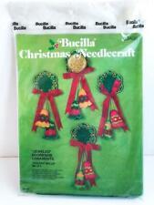 1978 Bucilla Felt Christmas Door Knob Ornament Kit Holiday Bells 3400 Set 4 Vntg