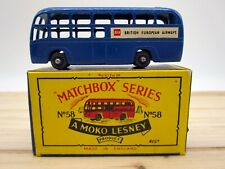 Vintage Matchbox Lesney Navy Blue BEA Airport Coach Bus #58 w/ Original Box